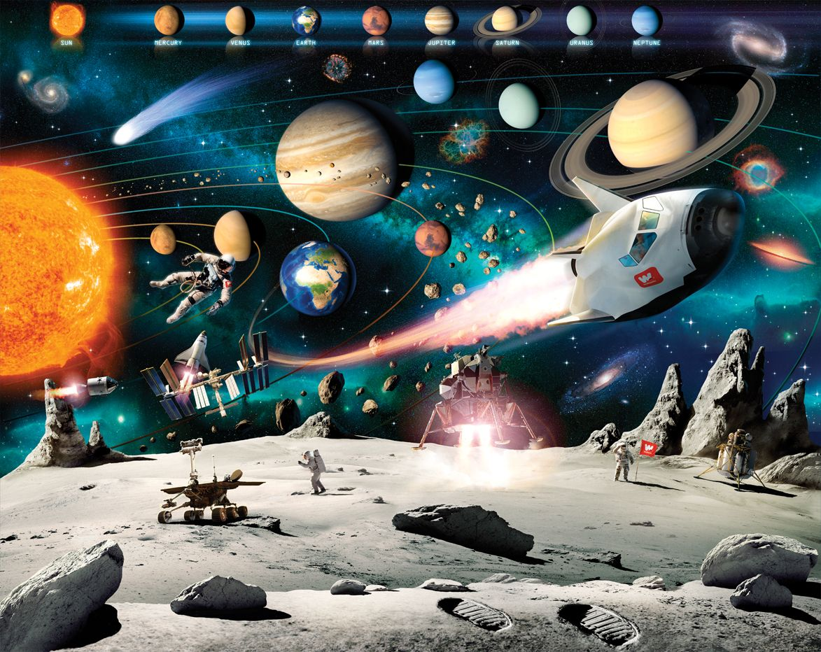 Outer Space Adventure Wallpaper Mural 1173x932