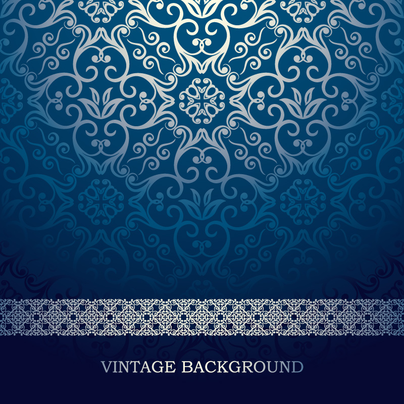 Vintage Blue Pattern Background Vector Vector Graphic Download 800x800