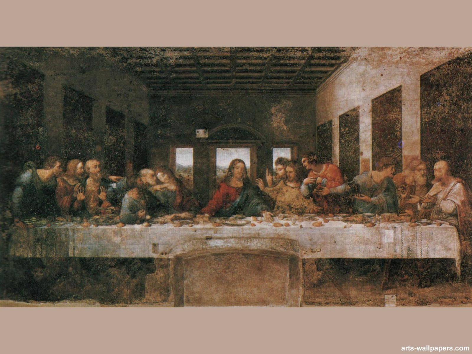 The Last Supper Wallpaper Print Art Wallpaper Wall Tapestry 1600x1200
