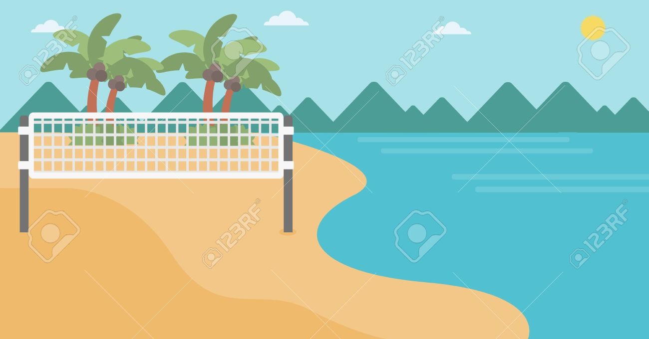 Background Of Beach Volleyball Court At The Seashore Volleyball 1300x680