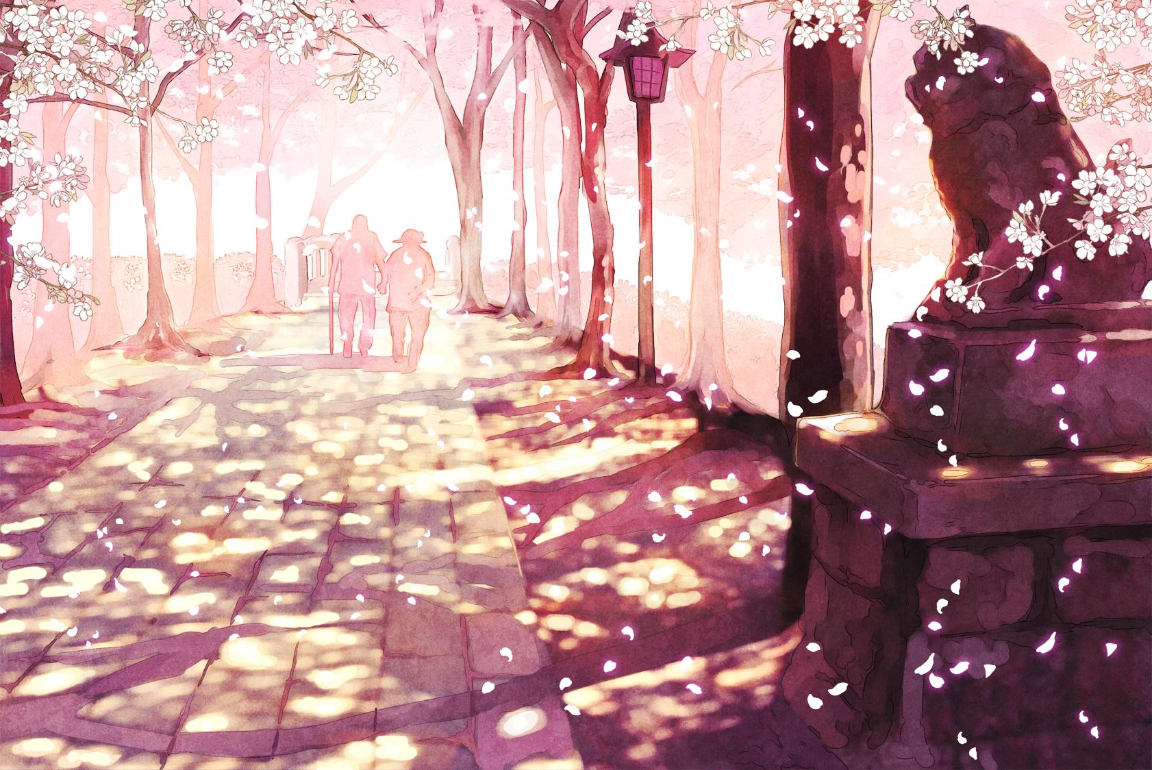 cherry blossoms furai original petals scenic tree wallpaper background 1682x1124