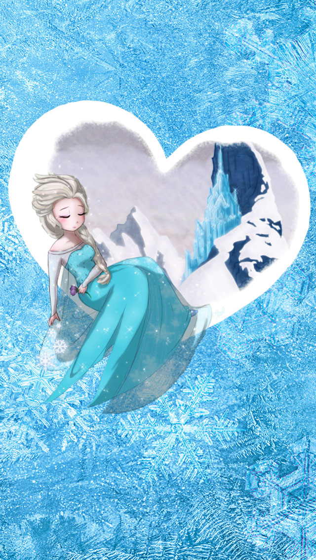 Frozen Elsa Frozen Heart iphone wallpaper 640x1136