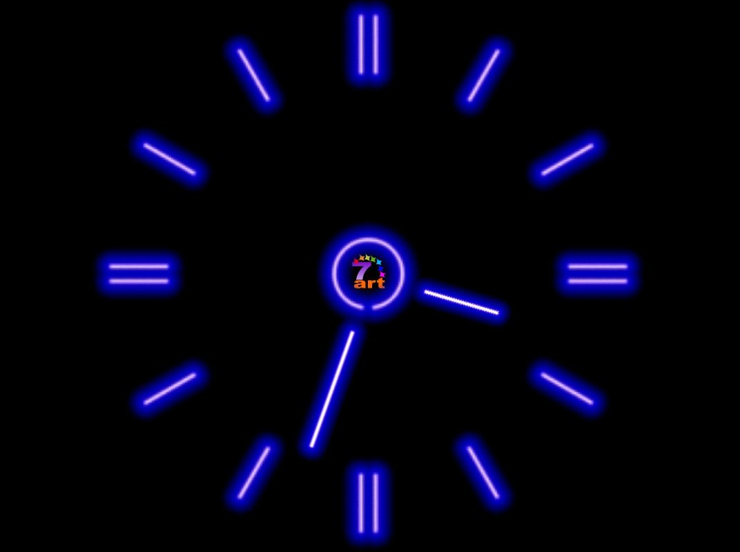 Review Downloads of Freeware 7art Fluorescent Clock ScreenSaver 1072x800
