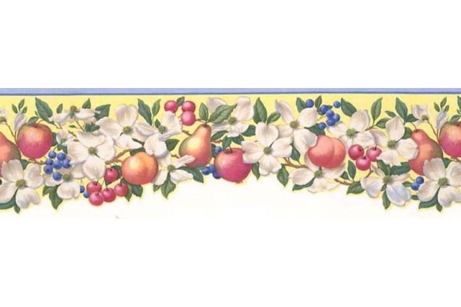 Light Blue Fruit Scalloped Wallpaper Border 900x600