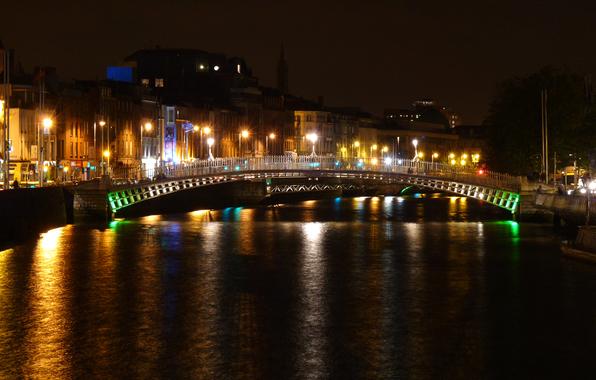 Dublin ireland bridge river canal embankment house night 596x380