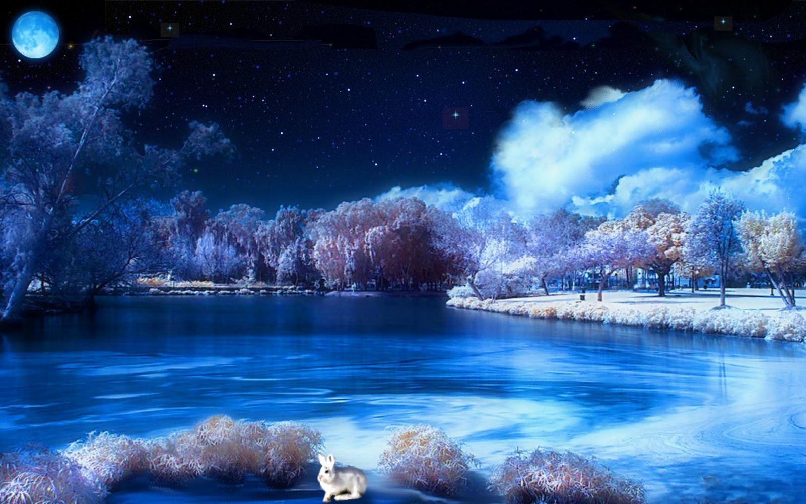Snowy Winter Night Scenes Wallpaper WallpaperSafari
