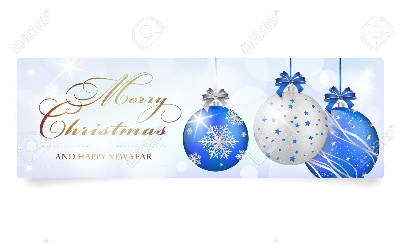 Merry Christmas And Happy New Year Card With Balls Shines And 1300x779
