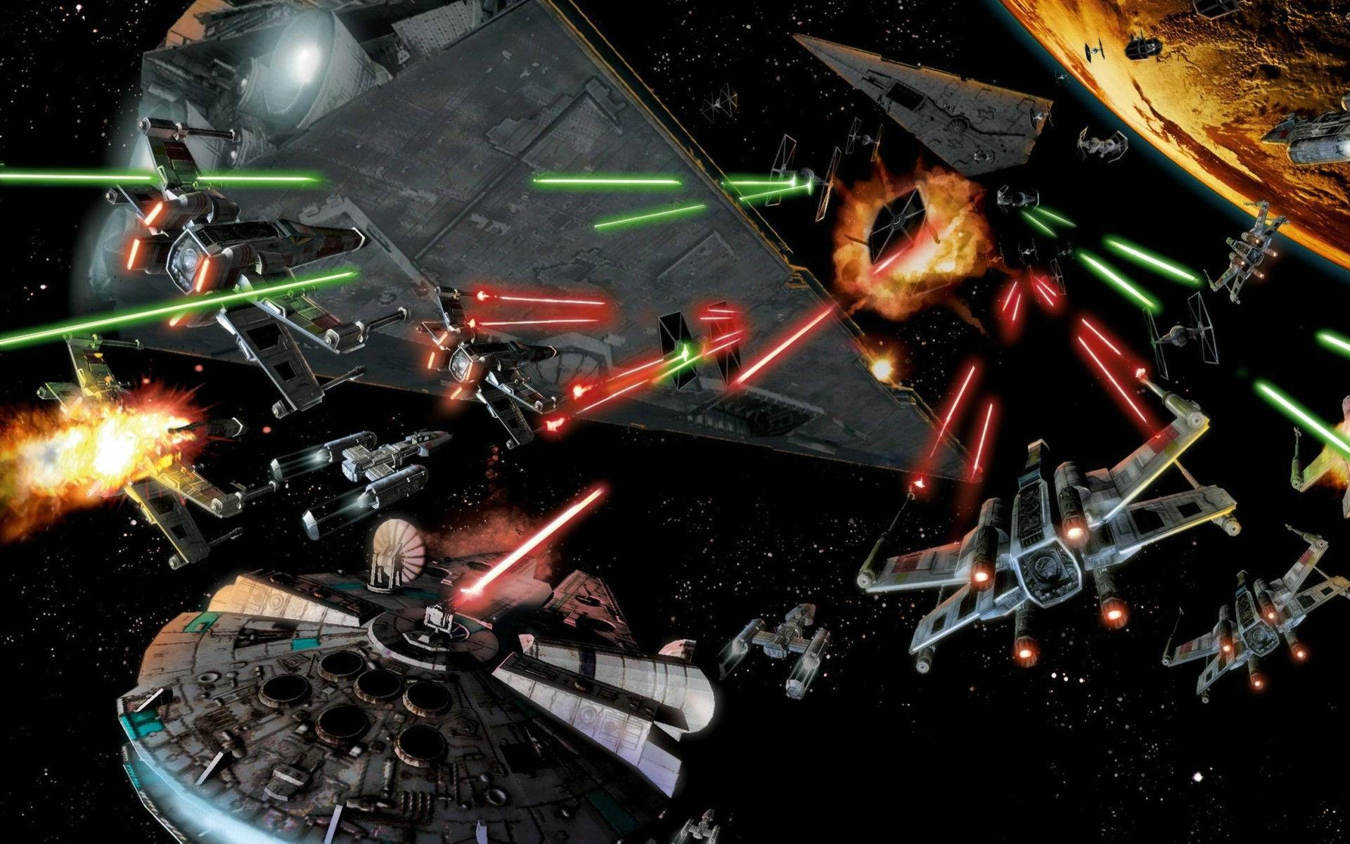 space Battle Star Wars Millennium Falcon Art Wallpapers HD 1920x1200