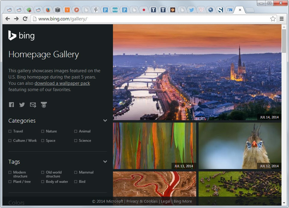 The Bing Homepage Gallery offers a better option It displays all 962x694