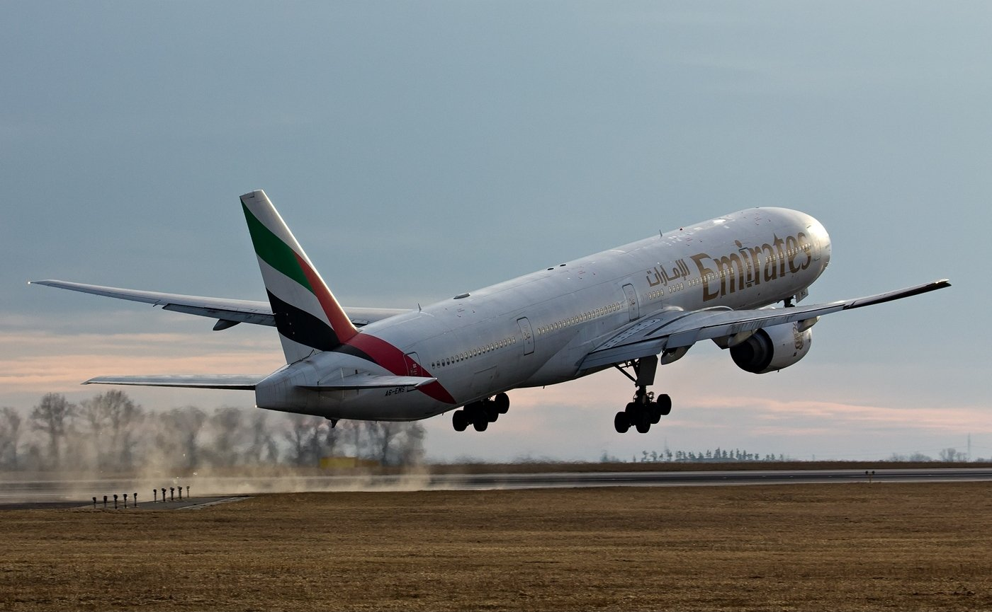 Boeing 777 300 of Emirates Airlines Aircraft Wallpaper 3093 1400x865