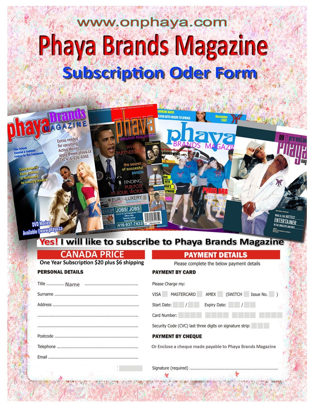 Magazine Subscription Order Form Image 1236x1600