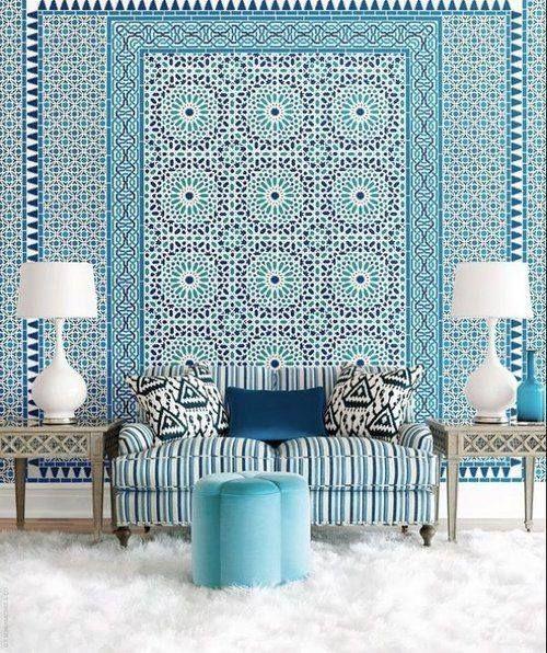 Moroccan Style wallpaper by Schumacher Blue Pinterest 500x596
