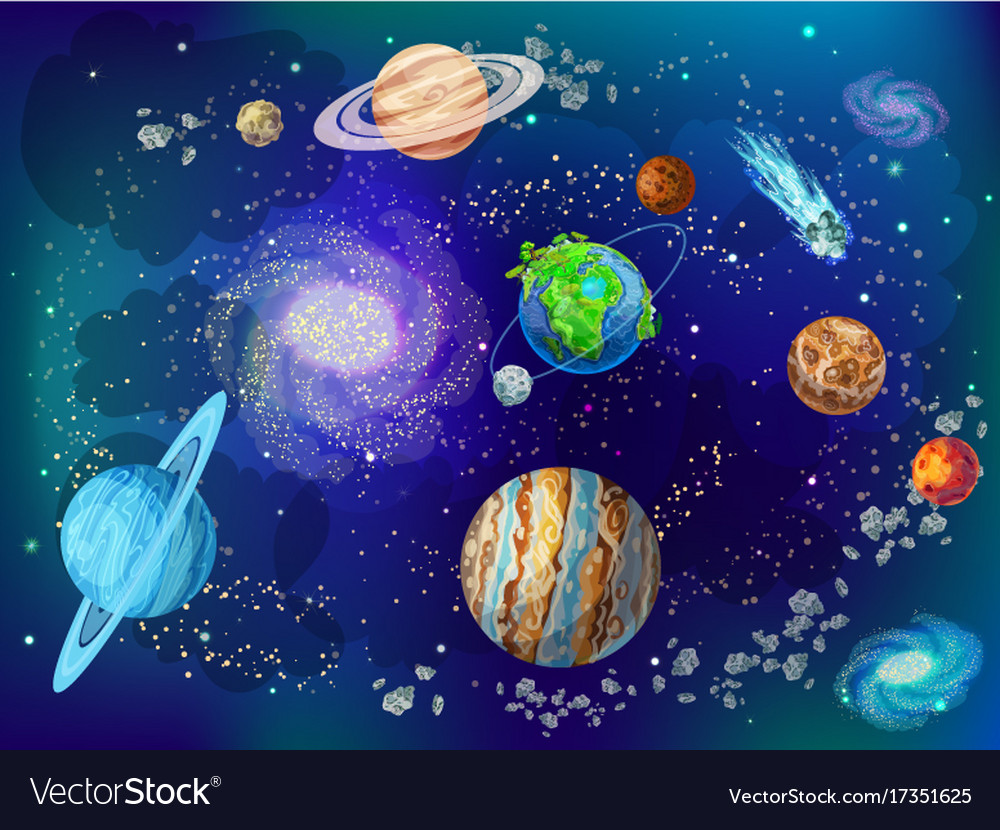 Cartoon scientific space background Royalty Vector 1000x830