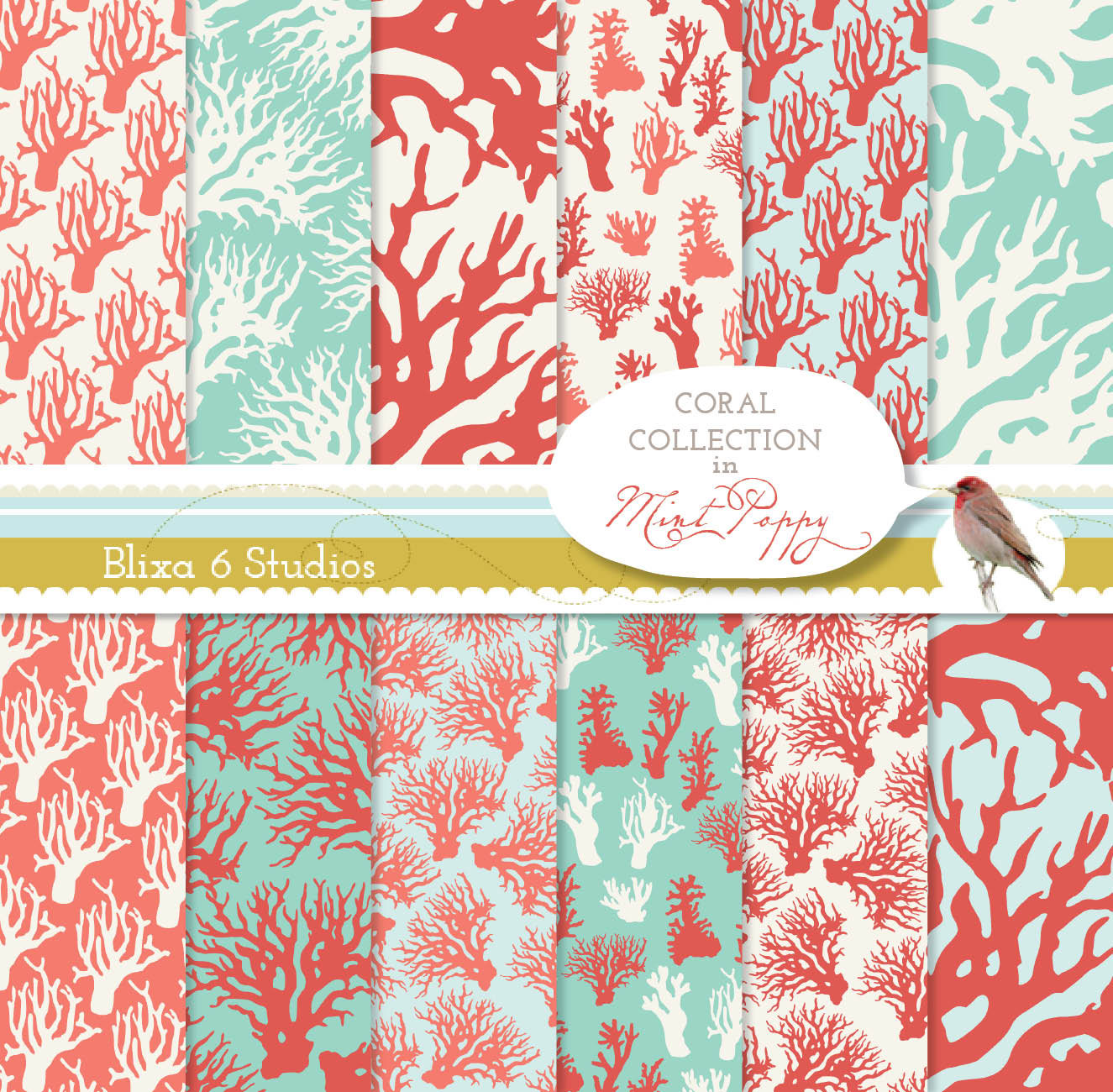 Mint And Coral Pattern 12 coral patterns in mint 1325x1300