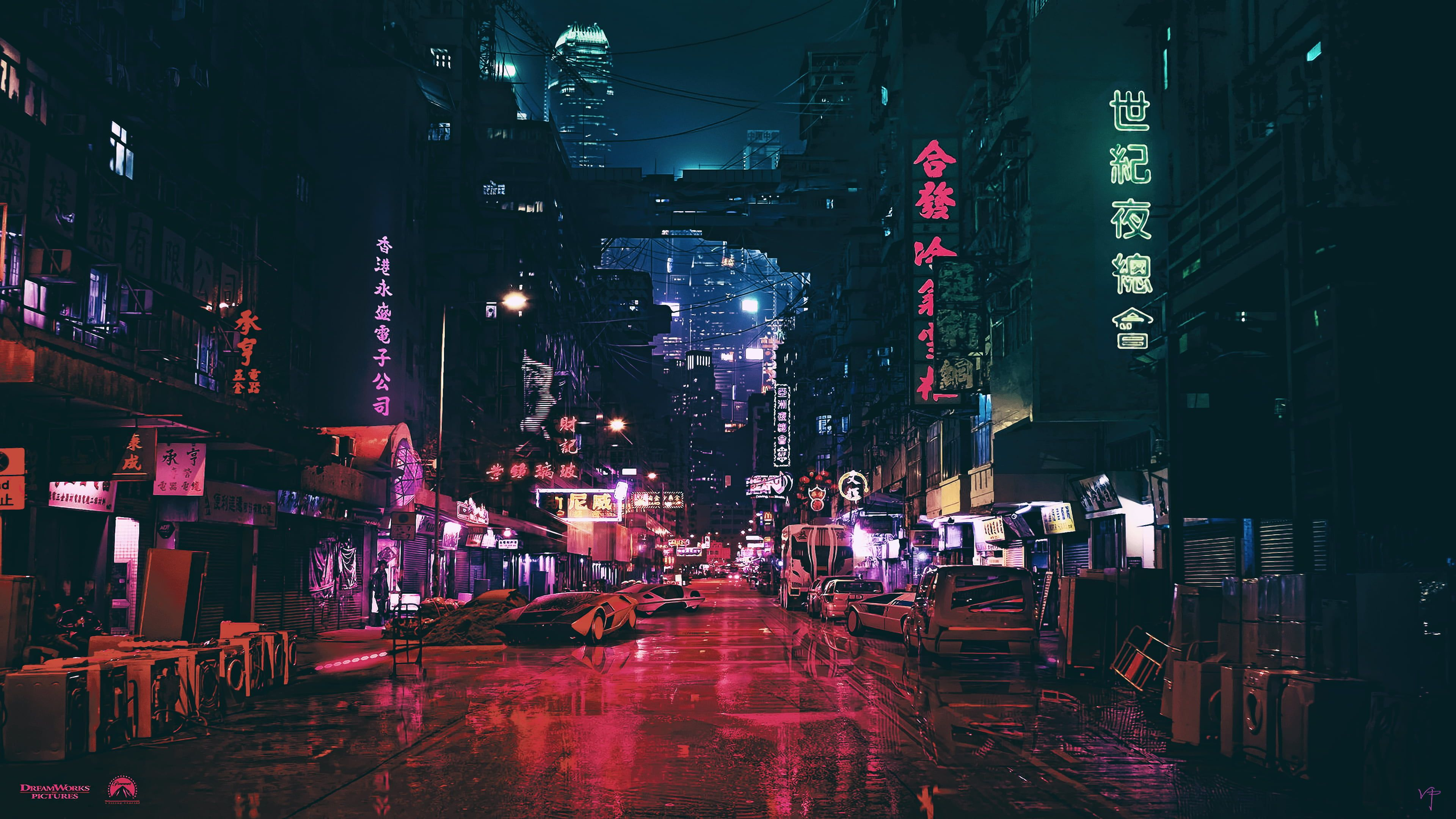 black signages city roads with lightings and cars night artwork 3840x2160
