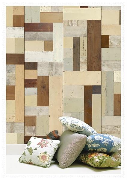 More faux reclaimed wood wallpaper Modern Family Room Pinterest 424x600