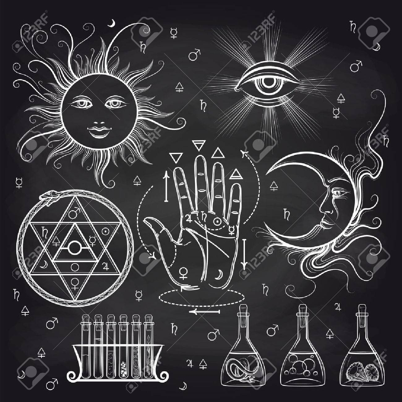 Isoteric Signs Philosophy And Alchemy Elements On Chalkboard 1300x1300