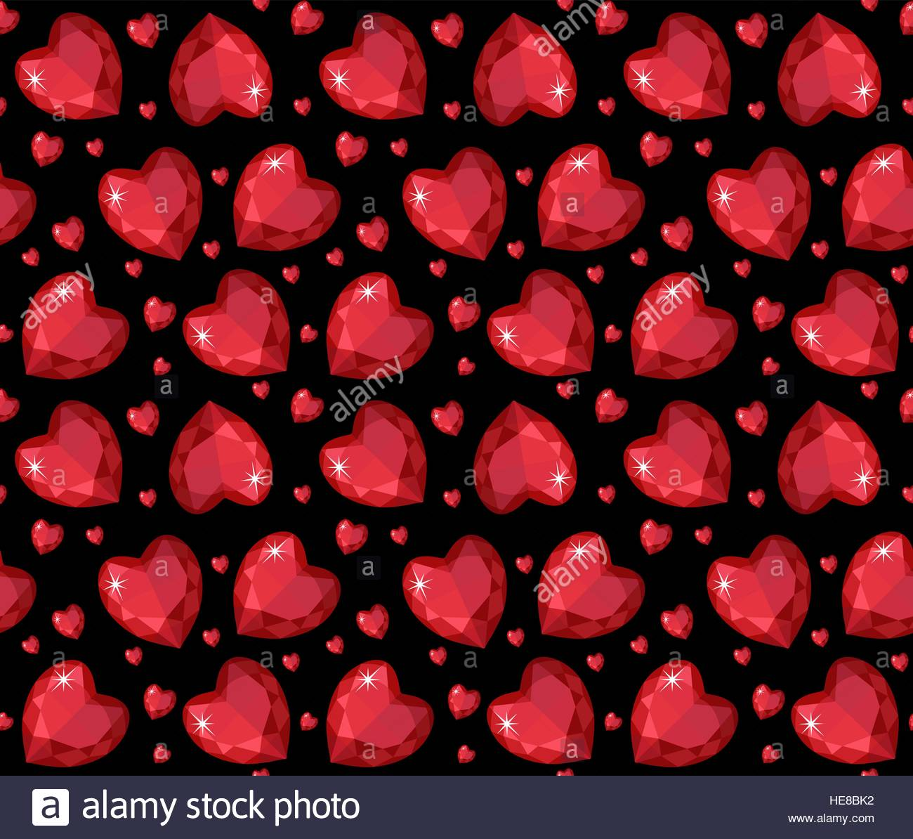 Jewelry ruby red heart seamless pattern Brilliant gems hearts 1300x1194