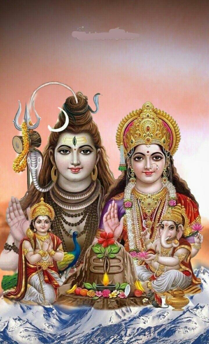 Shiva Parvati and family with lingam Hindu Lord shiva family 719x1185