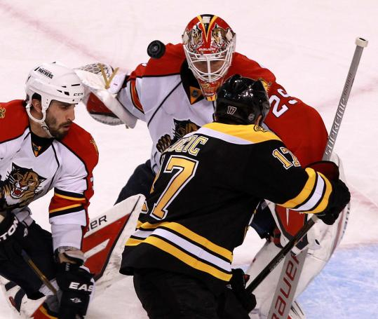Panthers goalie Tomas Vokoun stopped Milan Lucic in the third period 539x455
