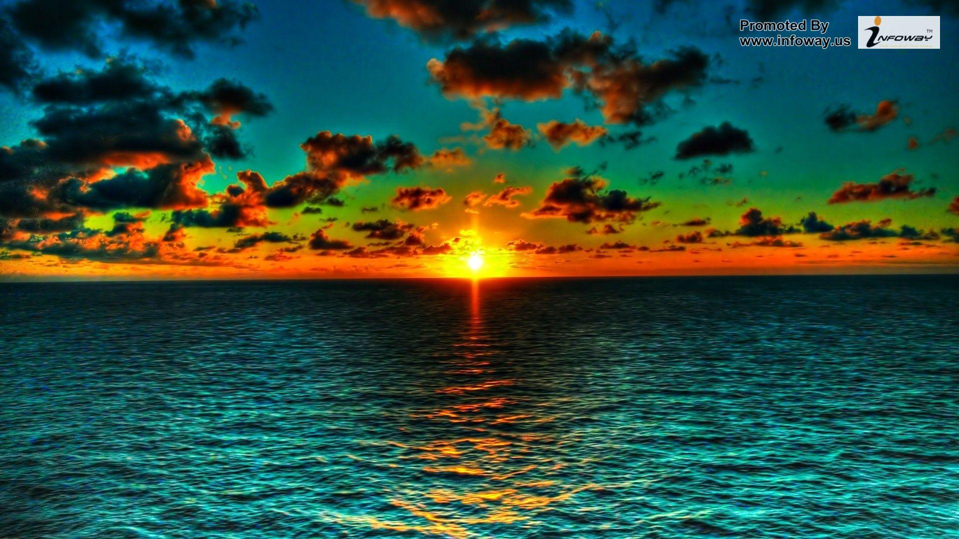 High resolution beautiful nature wallpapers orange green ocean sunset 1920x1080