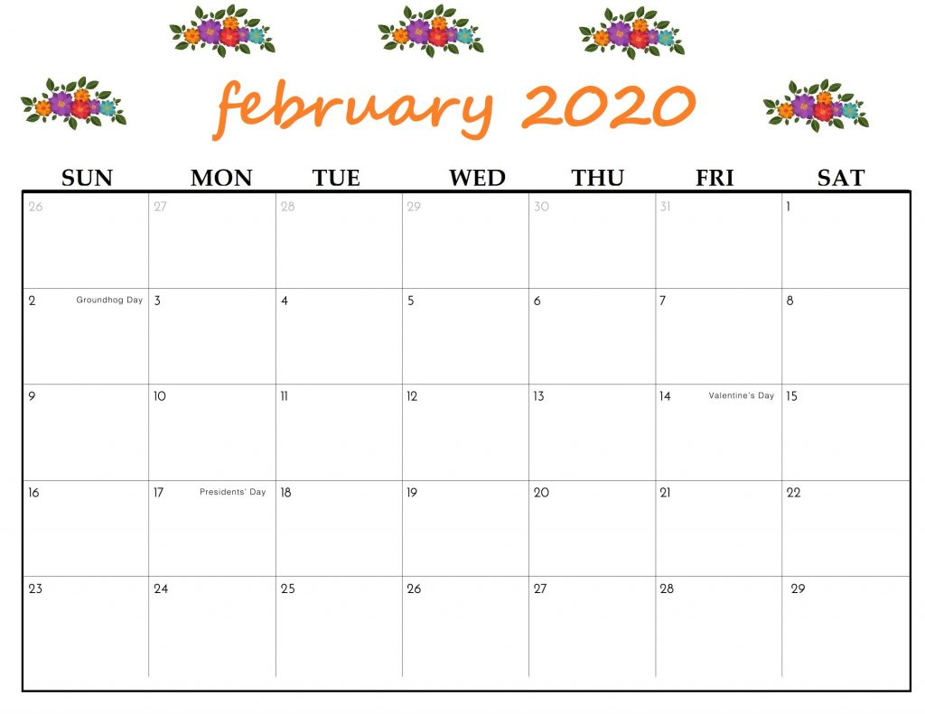 Floral February 2020 Calendar Wallpaper For Kids Students 1024x791