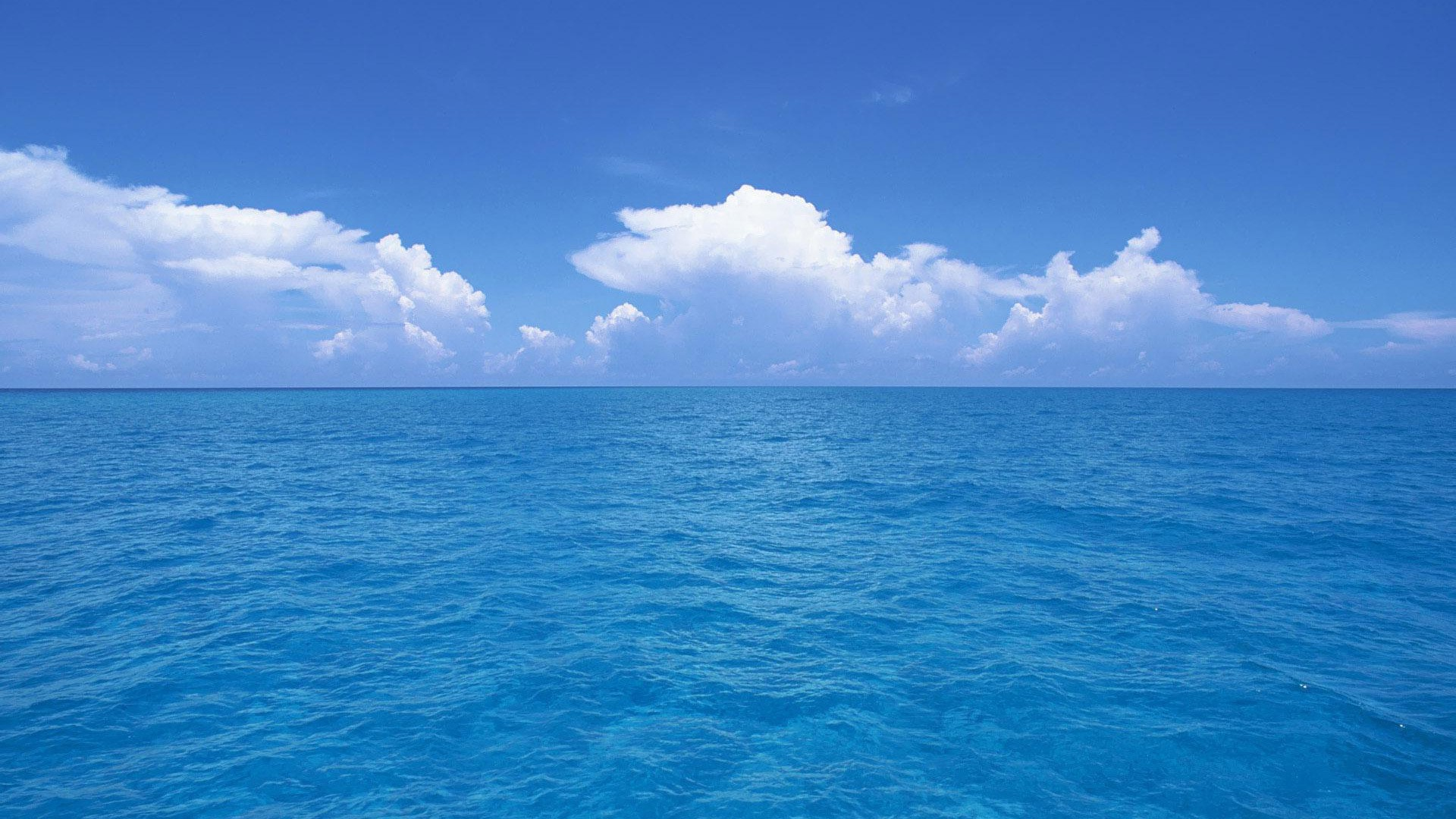 blue ocean clouds skylines sea wallpaper background 1920x1080