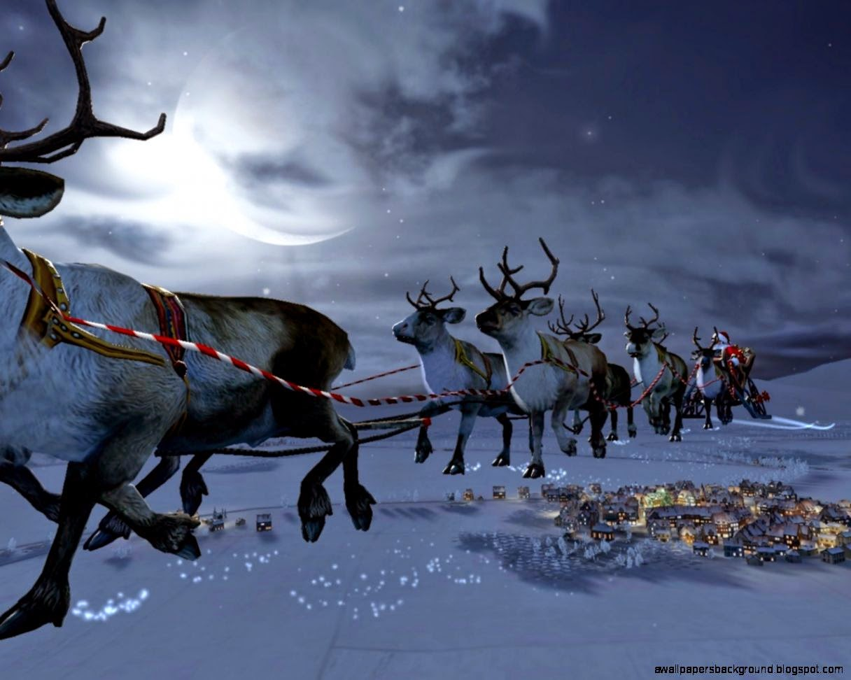 3D Santa Claus Goes To Moon Christmas Wallpaper 1216x972