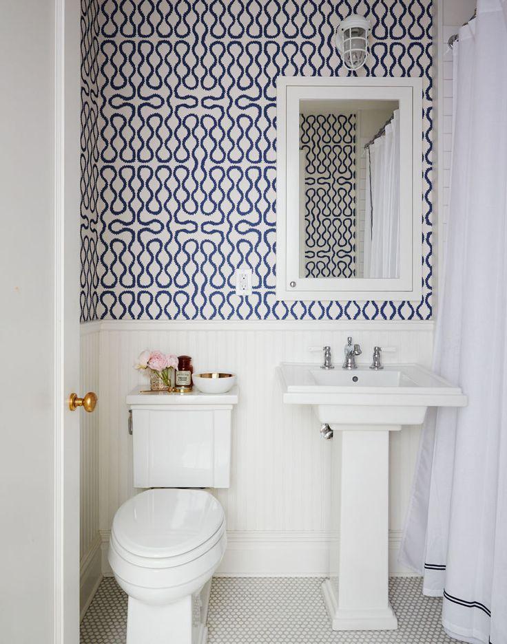 bold geometric pattern for bathroom wallpaper is definitely a 736x936
