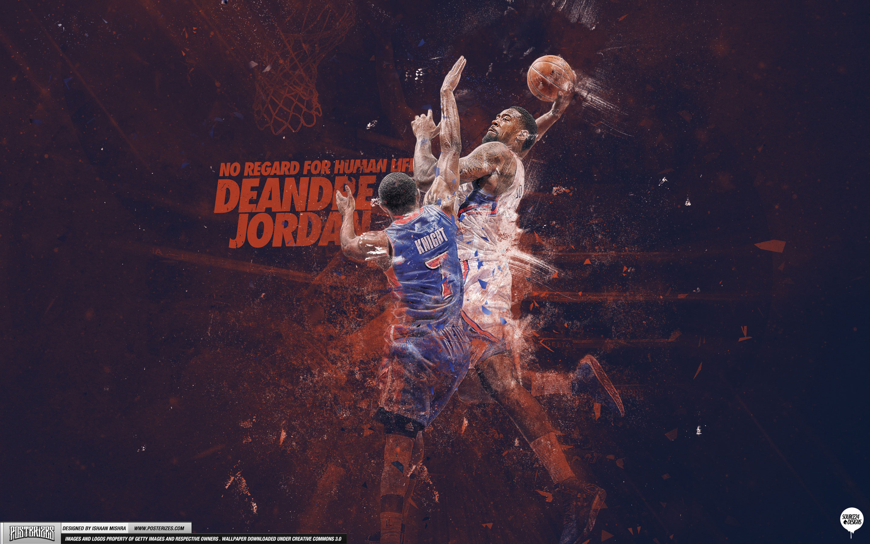DeAndre Jordan over Brandon Knight 2013 28801800 Wallpaper 2880x1800
