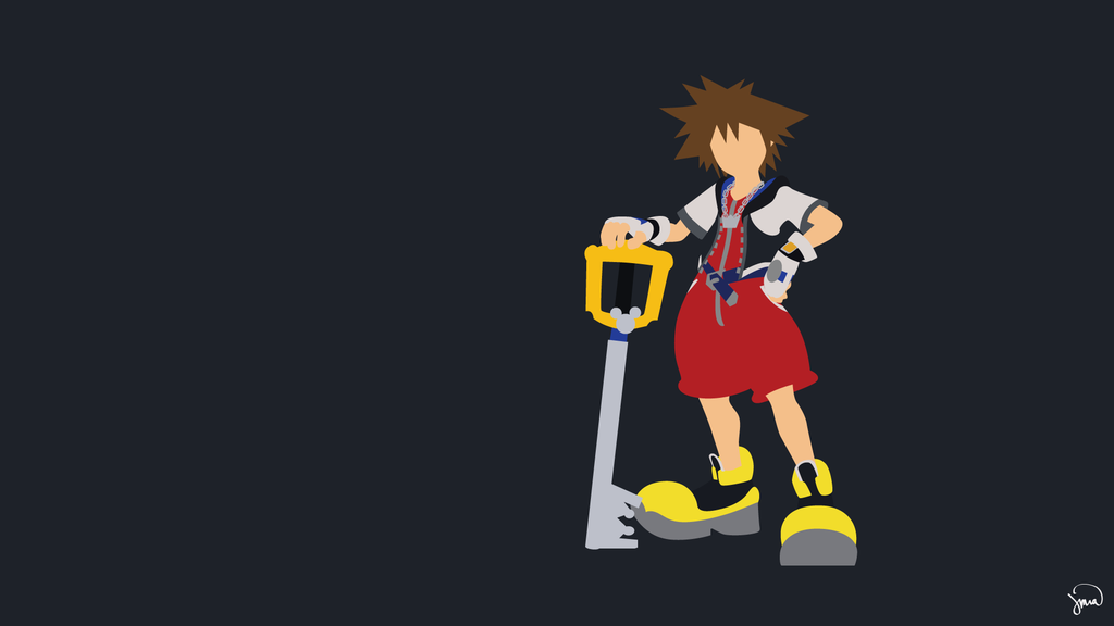 Sora Kingdom Hearts Minimalist Wallpaper by greenmapple17 on 1024x576