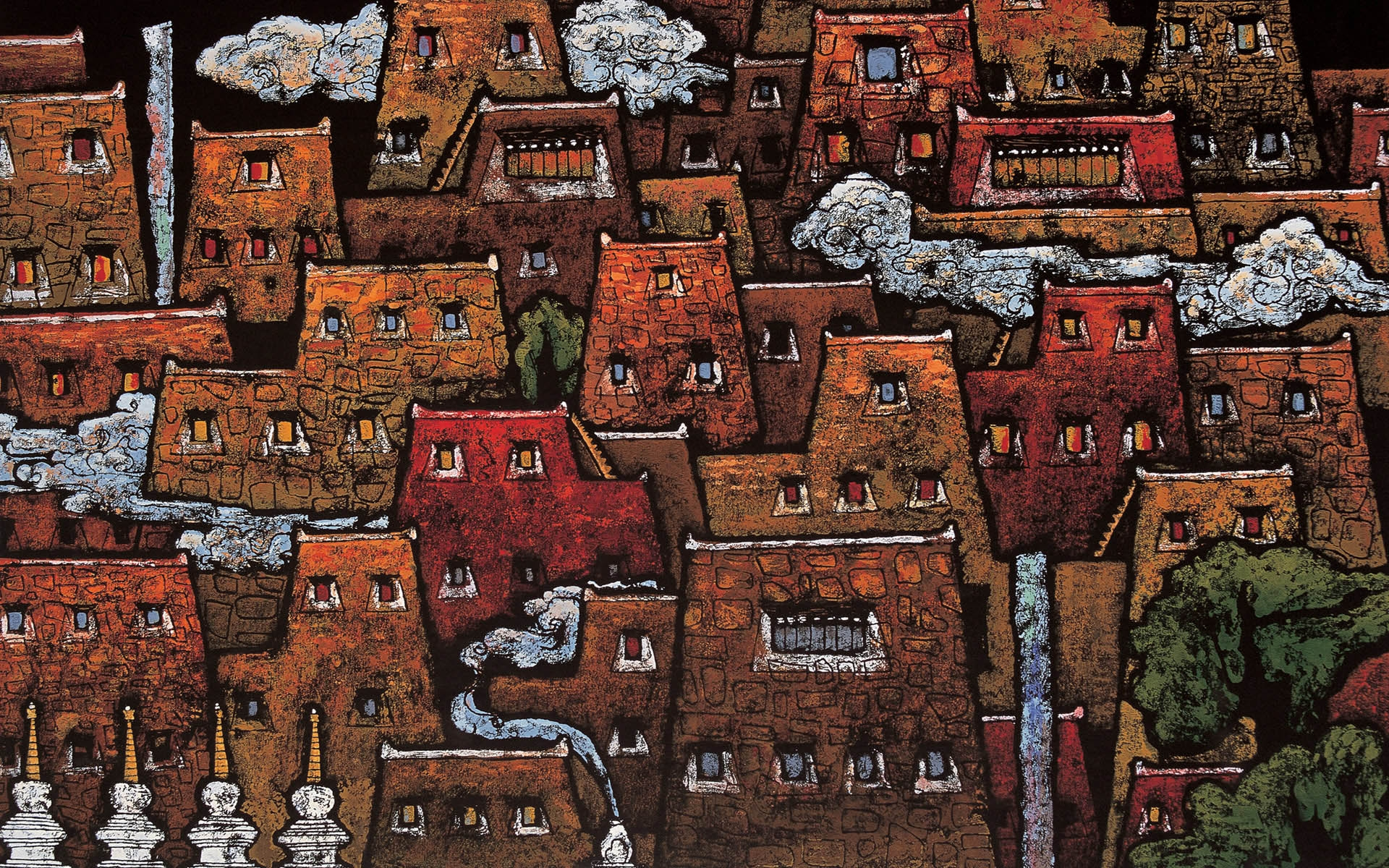 XiangBa Tibet Woodcut Computer Wallpapers Desktop 1920x1200
