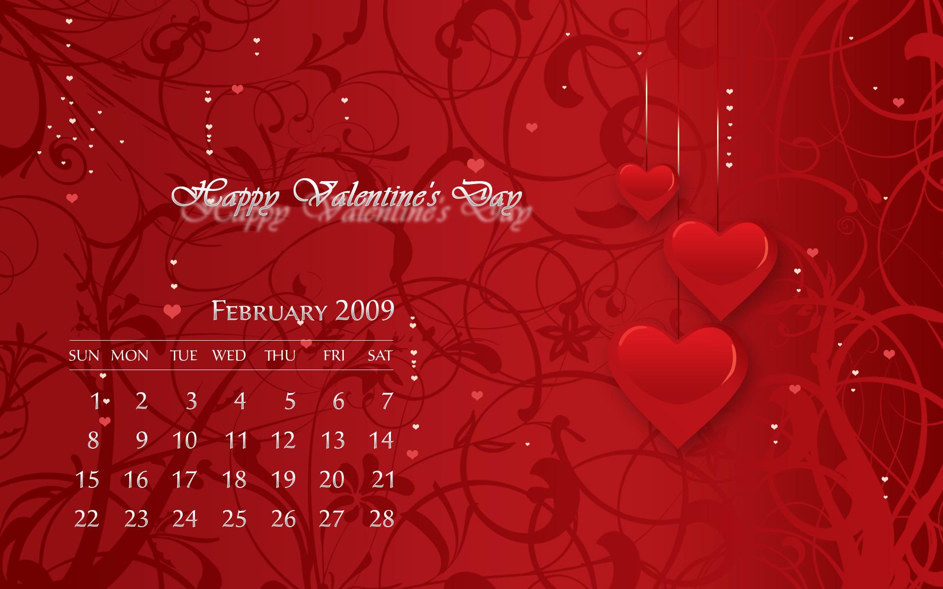 Romantic February 2009 Calendar Wallpaper Photoshop 1920x1200