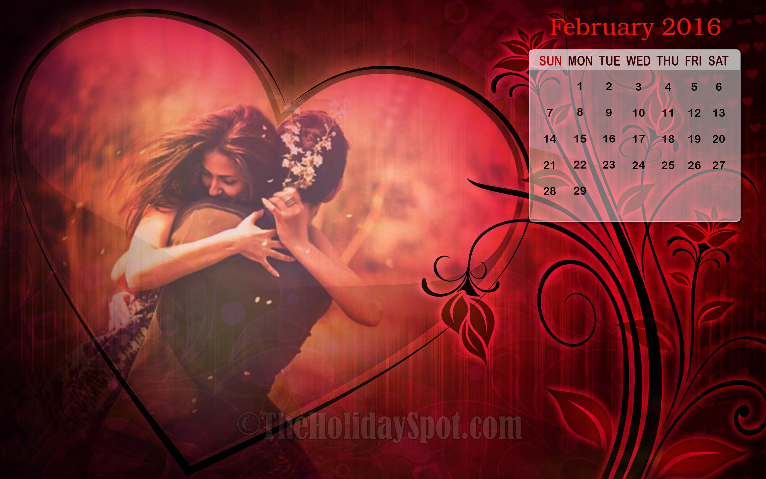 Love themed February Calendar Wallpaper 2016 2560x1600