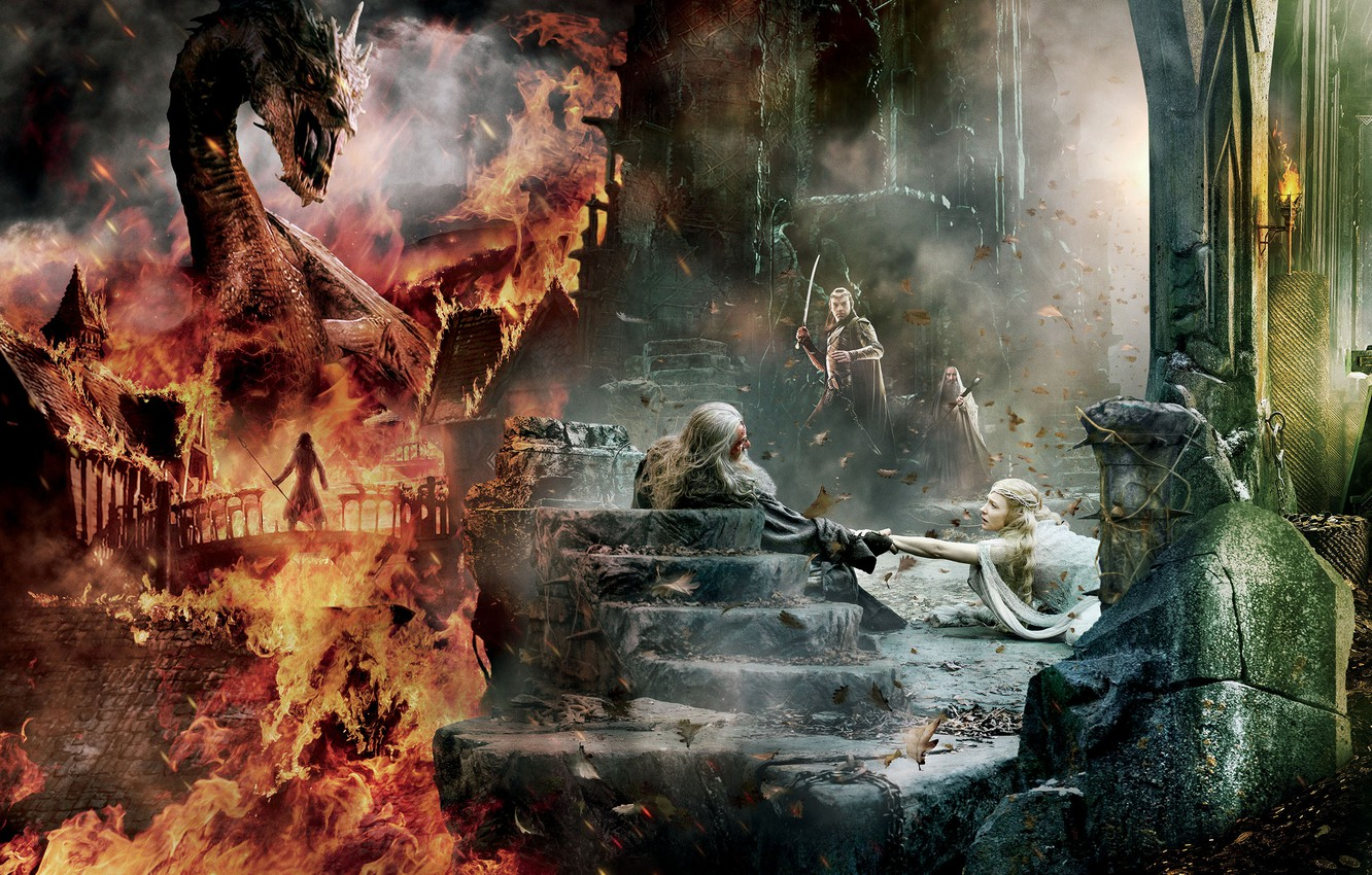 Wallpaper Dragon Fire Wallpaper Gandalf Ian McKellen Benedict 1332x850