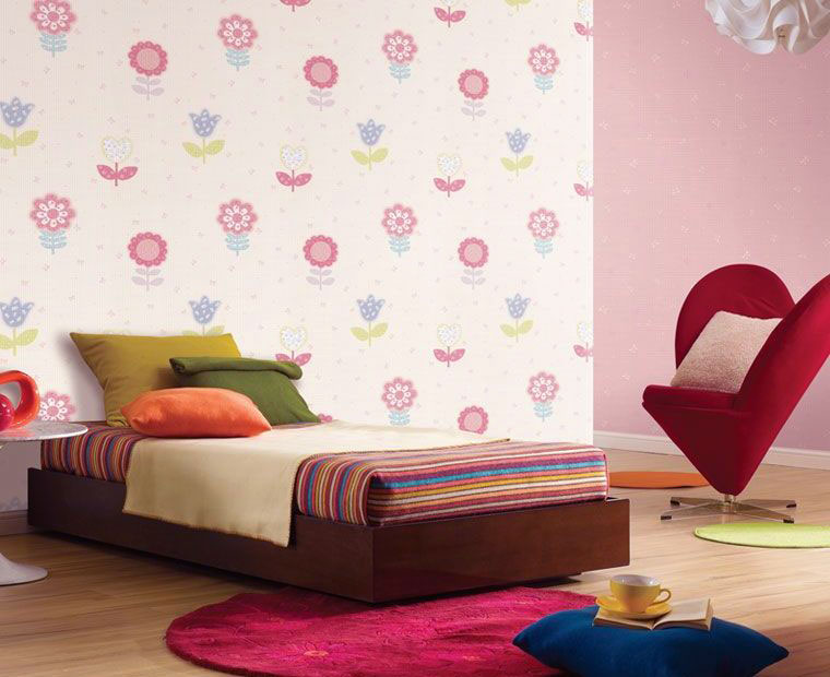 Colorful Flower Wall Decal For Girls Room Interior Design Ideas