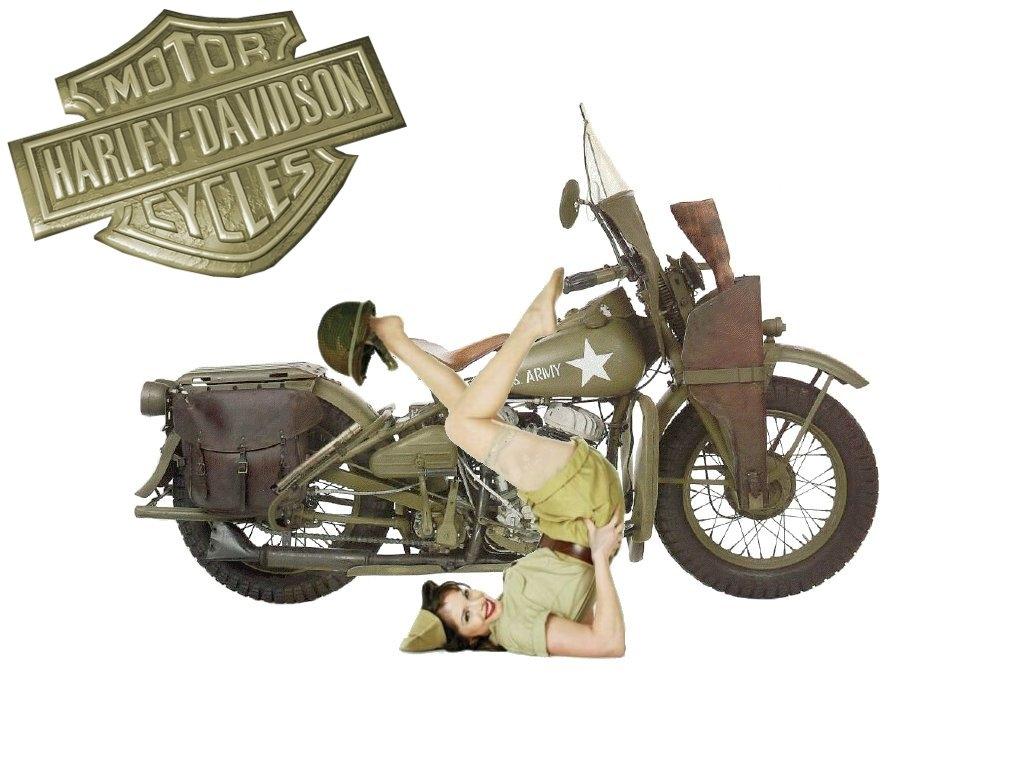 1024x768 1942 Harley Davidson WLA with Pin up Wallpaper Download 1024x768