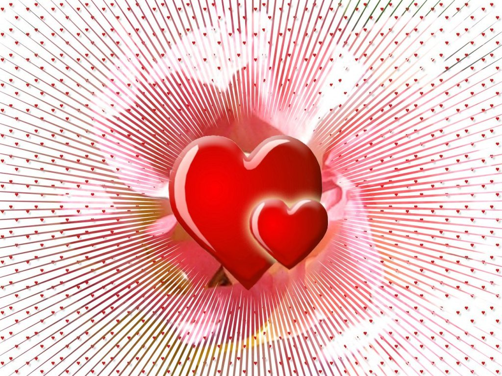 Love wallpapers for Valentines Day with angels hearts and flowers 1024x768