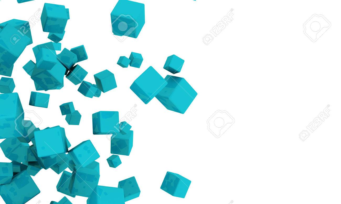 Abstract Background Of Scattered 3d Turquoise Or Cyan Cubes 1300x780