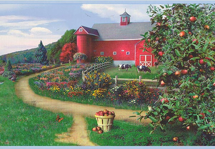 Details about Wallpaper Border Country Farm Cows and Red Barn Apples 720x497