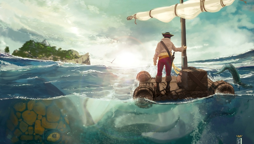 octopus monster art sea people island the raft wallpaper and 970x550