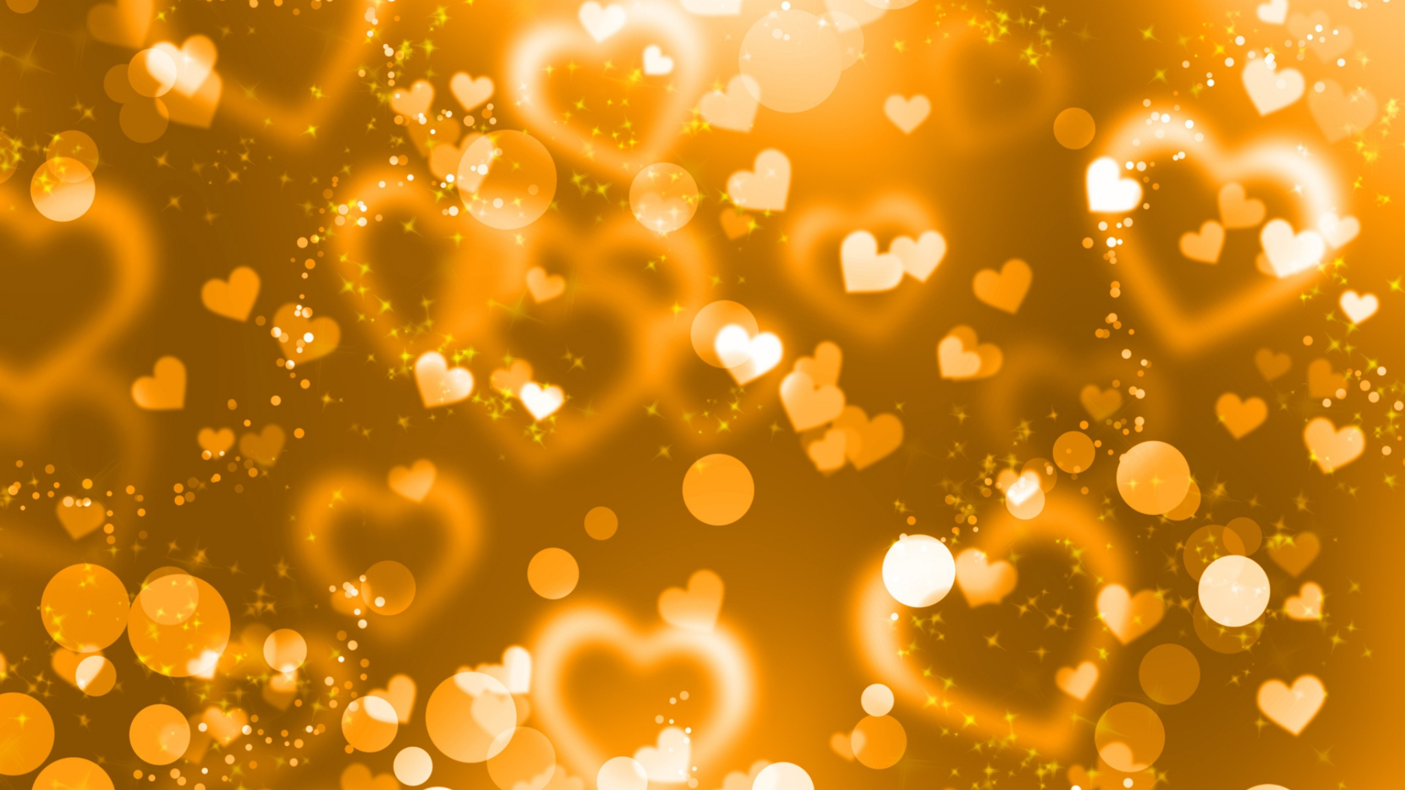 Hearts Glitter Background wallpaper Orange Hearts Glitter Background 2048x1152