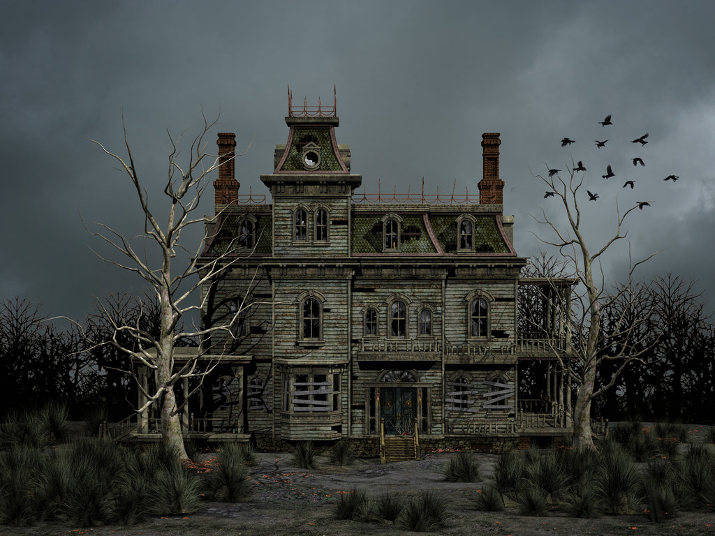 Haunted House with flying crows 1024x768