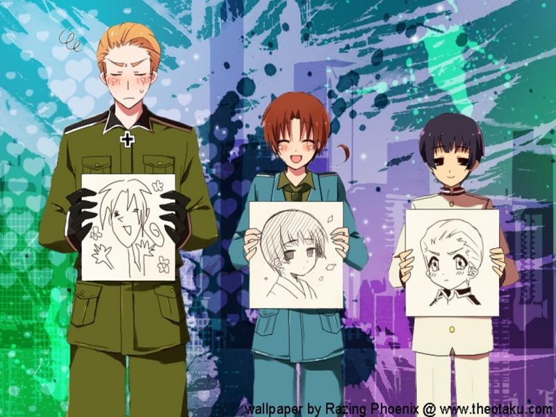 Uso Lala Axis Powers Hetalia Germany North Italy Japan Drawing 800x600