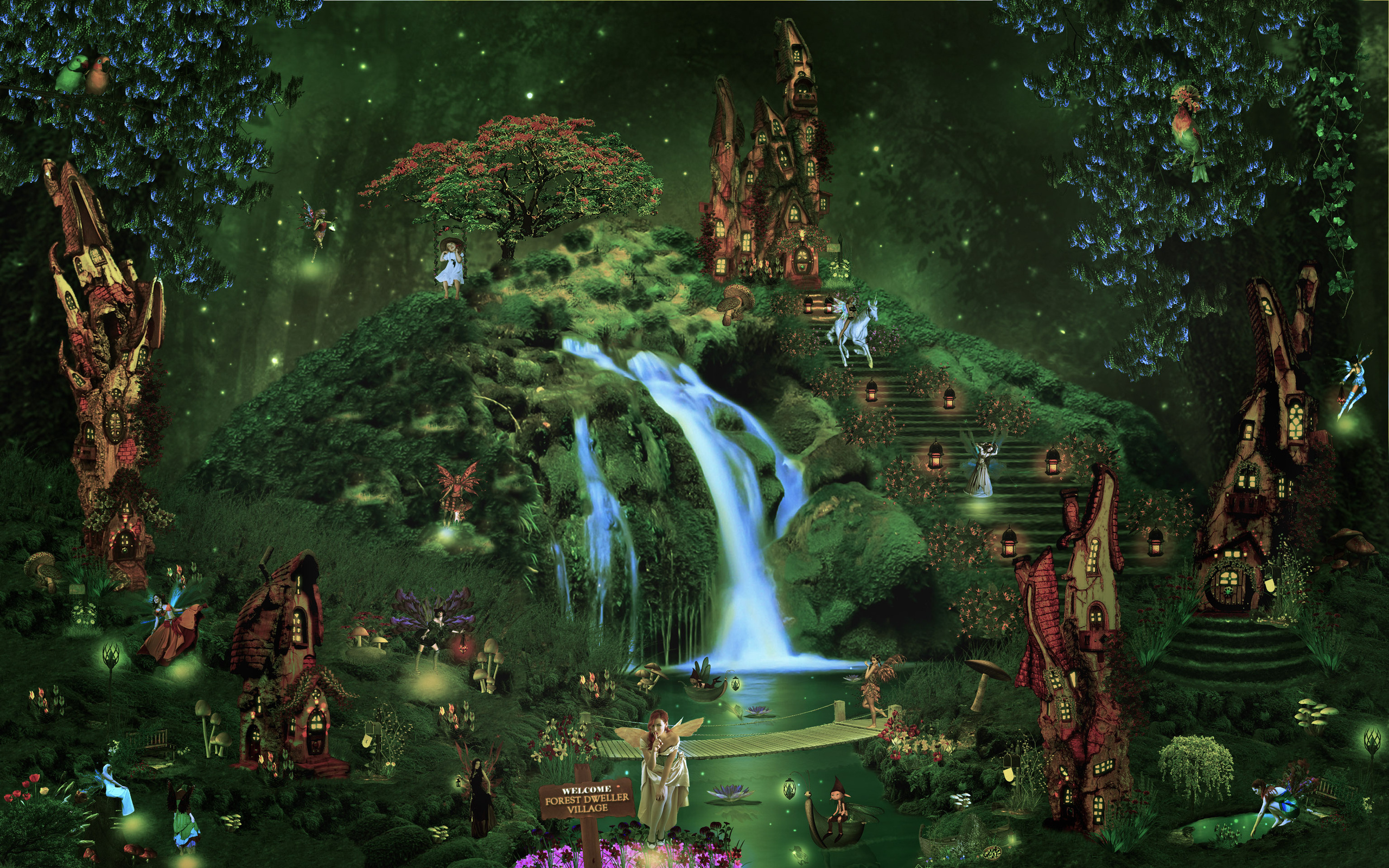 castle city forest waterfall fairy elf magical wallpaper background 2560x1600