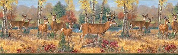 DEER CABIN LODGE BATHROOM ACCESSORIES WALLPAPER BORDERSFREE SHIPPING 590x182