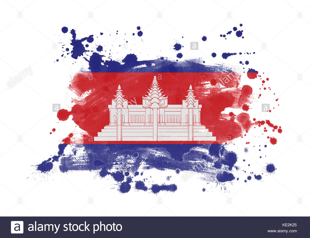 Cambodia flag grunge painted background Stock Photo 163557357   Alamy 1300x996