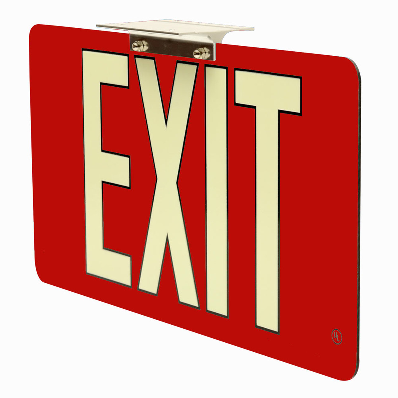 50 Ultra Thin Photoluminescent Exit Sign with Red Background 1000x1000
