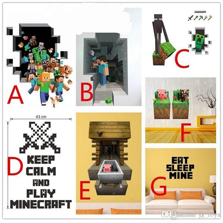 3d Minecraft Wall Sticker Cartoon Wallpaper For Decorations Kids Room 750x750