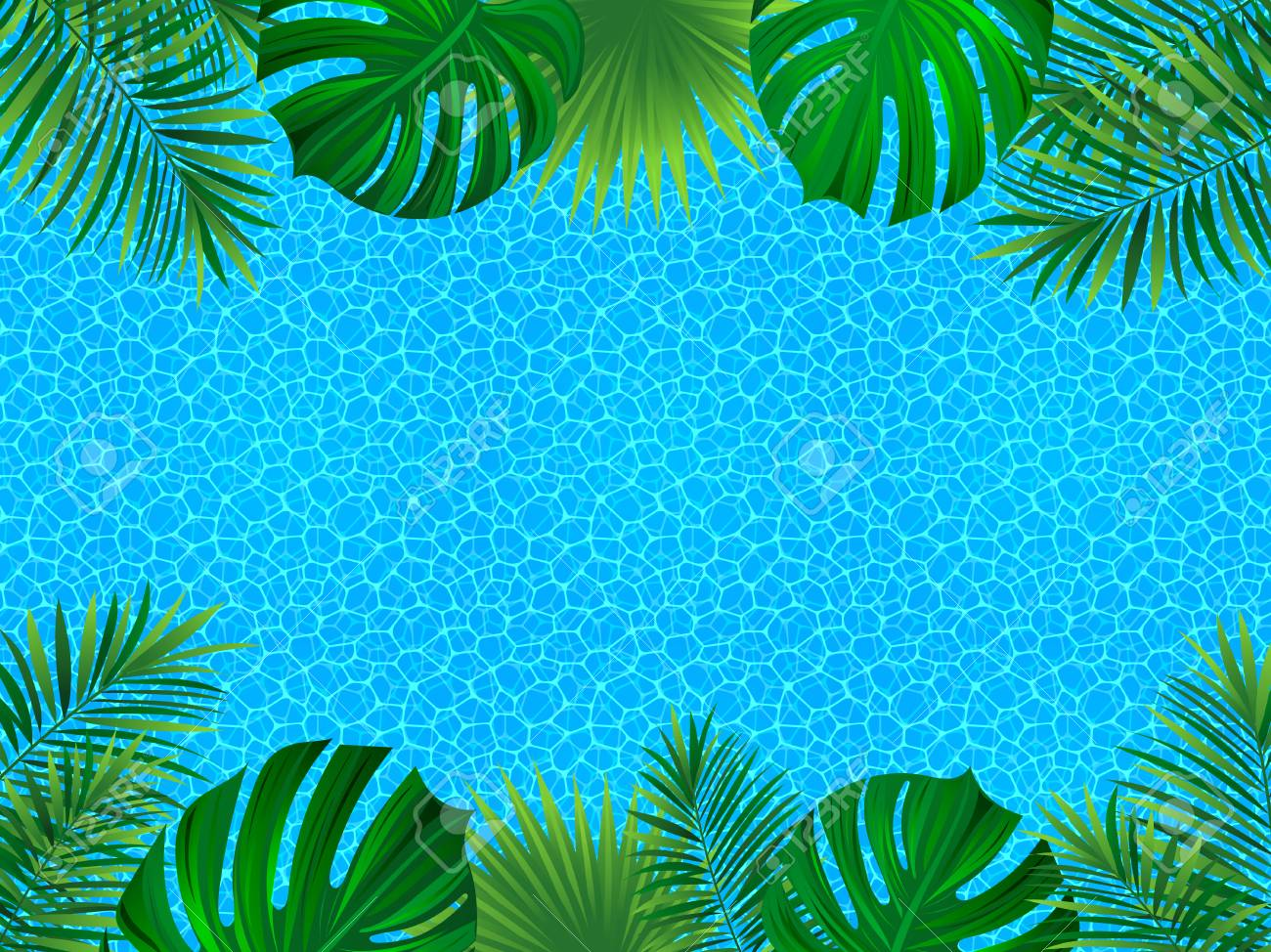 Tropical Frame Tropic Invitation Card Water Surface Background 1300x974